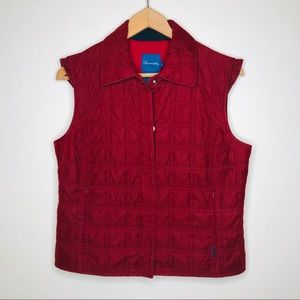 Faconnable Quilted Zip Front Vest w/ Pockets Red S